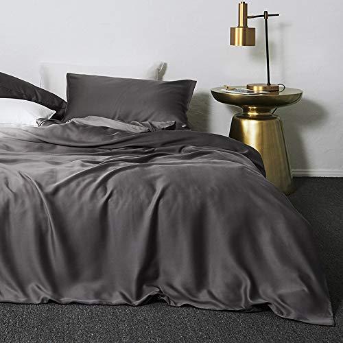 yaonuli Tencel dekbedovertrek, 4-delig, tweepersoonsbed, eenvoudig, leer, zwart, 2,0 m