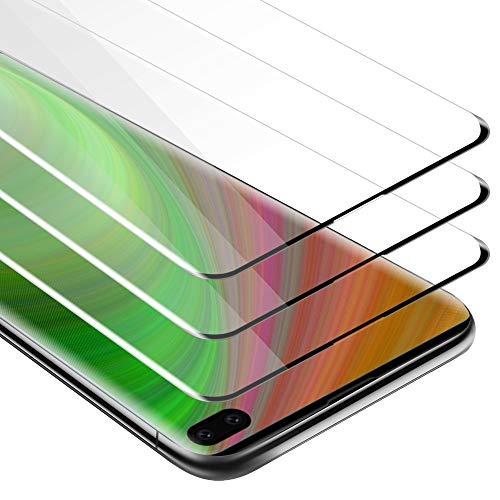 Cadorabo 3X Vollbild Panzerglasfolie für Samsung Galaxy S10 Plus - Schutzfolie in TRANSPARENT mit SCHWARZ - 3er Pack Gehärtet (Tempered) Bildschirmschutz Glas in 9H Festigkeit mit 3D Touch