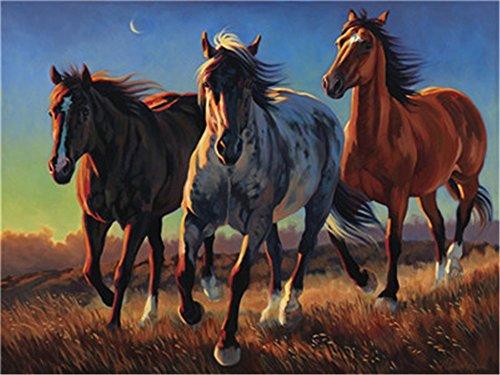 DIY Öl Malen nach Zahlen Kit für Erwachsene Anfänger 40,6x 50,8cm–Starke Pferd, Zeichnen mit Pinsel Weihnachten Decor Dekorationen Geschenke Frame