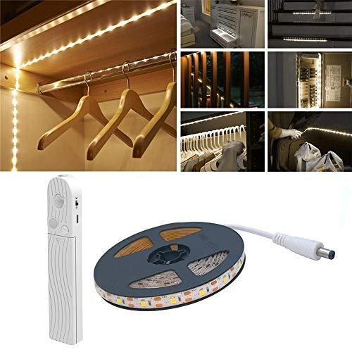 Luz de armario para sensor de movimiento, 2M 120 LED 6500K Tira de LED blanca, USB o con batería, Armario, Debajo del gabinete, Escaleras, Cajón, Alumbrado nocturno de la cama