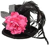 Forum Novelties Harlequin 4' Mini Black Top Hat Pink Flower Feathers Women's Costume Accessory 4' (76414)