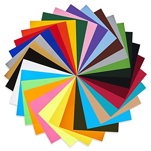"QuuCut Heat Transfer Vinyl Bundle : 10"" x 12"", Sheets 30-Colors Assorted Pack Iron on HTV Vinyl for Any Plotter/Silhouette Cameo/Cricut & Heat Press Machine"