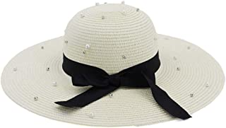 Sun Hat for men and women Women's Summer Sun Hat Flash Soft Bag Pearl Wide Side Sun Protection Boat Cap Topee