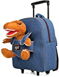 Dinosaur Backpack Dinosaur Toys for Kids 3-5 - Kids Luggage w Wheels - Kids Suitcase for Boys Girls - T Rex Toys for 3 4 5 6 7 Year Old Boys Birthday Gift Bag Dinosaur Stuffed Animals Rolling Backpack