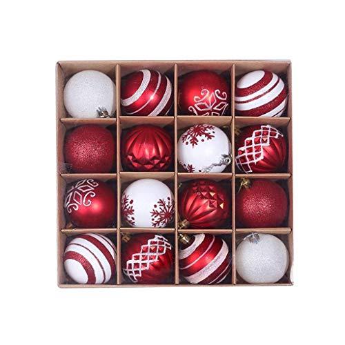 Xiongz 16 adornos de bolas de Navidad de 6 cm, bolas de Navidad inastillables, decoraciones de fiesta, decoración colgante (color: K)
