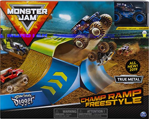 Monster Jam, Official Champ Ramp Freestyle Playset Featuring Exclusive 1:64 Scale Die-Cast Son-uva Digger Monster Truck