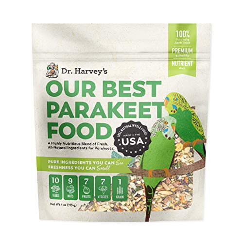Dr. Harvey's Our Best Parakeet Food, All Natural Daily Food for Budgies and Parakeets, Trial Size (4 Oz)