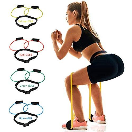 4 pièces Entraînement des Jambes Resistance Band Muscle Waist Belt -Ceinture Réglable Séance pour Femmes Muscles Élastiques Entraîneur Fitness Gym Exercice Glut