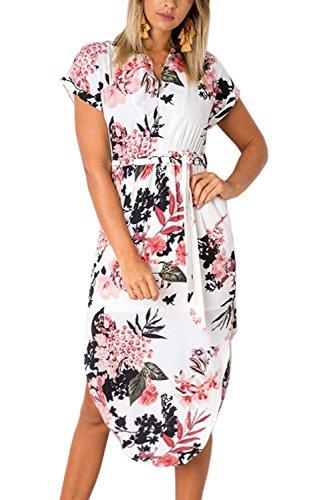 Minetom Damen Sommerkleider V-Ausschnitt Kurzarm Blumenmuster Knielang Kleider Elegant Lange Strandkleid Abendkleid mit Gurt Rot DE 46
