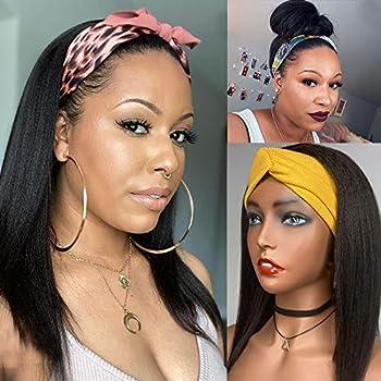 Italian Short Bob Yaki Straight Human Hair Wigs for Women Headband Kinky Yaki Straight Full Machine Made None Lace Headband Wig 130-150Density Natural Black  12inch 130% density