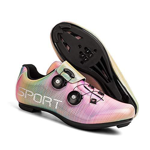 KUXUAN Zapatillas de Ciclismo de Carretera para Mujer Zapatillas de Ciclismo para Hombre-Decoloración 3D,Suela: Nailon,Multicolour-7UK=(255mm)=41EU