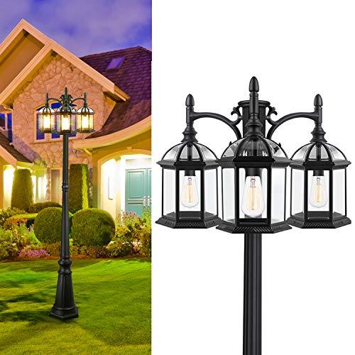 CINOTON Outdoor Lamp Post Light, 3-Head Surface-Mount Post Waterproof Outside Pole Light Aluminum, Black Birdcage Design Outdoor Street Light Pole Lamp Triple-Head for Backyard, Patio, Garden, Walkway