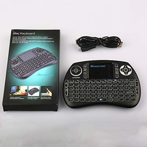 iPazzPort Mini Bluetooth Draadloos toetsenbord met touchpad, RGB verlicht toetsenbord en universele TV-afstandsbediening voor Smart TV, Android TV Box, Nvidia Schild TV, Raspberry Pi, Apple TV KP-810-61BT