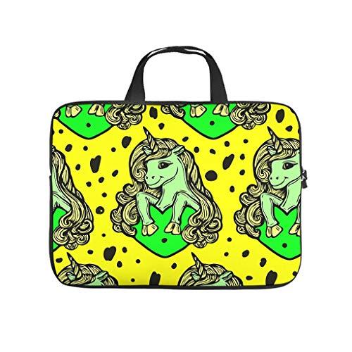 XINGYUE Animal Unicorn Yellow Tablet Bag Fashion 3D Print Laptop Handbag Portable Neoprene Fabric Tablet Bag for Boyfriend Girlfriend White 17inch