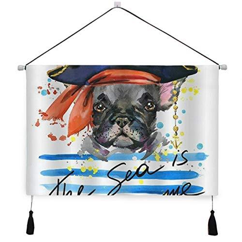 ELIENONO Poster Appeso su Tela,Animali Domestici Tema Acquerello Pirata Bulldog Francese Arte,arazzo Decorativo per la Decorazione di Arte della Parete della Camera da Letto dell'hotel Domestico