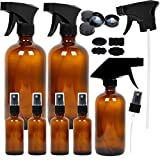 Youngever 7 Amber Glass Spray Bottles, 2 Pack 16 Ounce Empty Amber Spray Bottles, 1 Pack 8 Ounce...