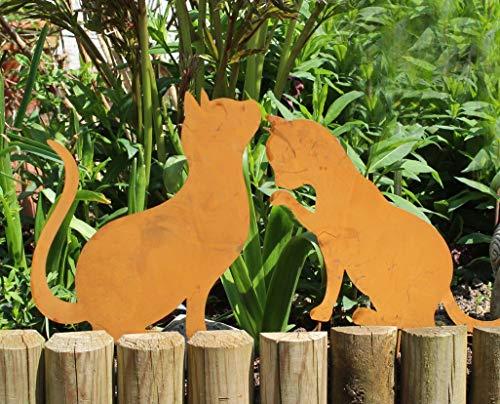Nostalgic Garden 2er Set Gartendeko Gartenstecker Katze zum Stecken Edelrost Rost Deko Design - PO