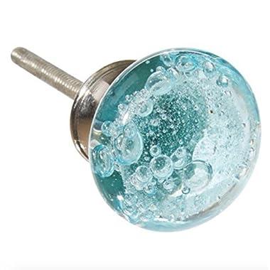 Aqua Blue Bubbles Glass Dresser Drawer, Kitchen Cabinet or Door Knob Pulls CHROME HARDWARE - Pack of 12