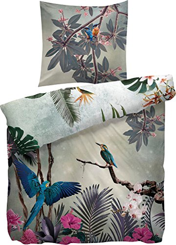 Heckett & Lane Bayamo Parure de lit en satin de coton mako Motif perroquet Multicolore 135 x 200 cm 80 x 80 cm