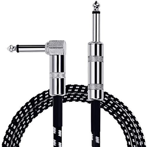 Anpro Cavo per Chitarra 3m, 6,3 mm Cavo per Strumento per Chitarra per Basso Elettrico Chitarra elettrica Spine dritte a L