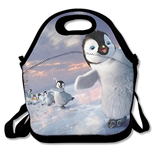 Neoprene Lunch Tote - Awesome Penguin Waterproof Reusable Lunch Box For Men Women Adults Kids Toddler Nurses With Adjustable Shoulder Strap - Best Travel Bag