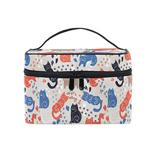 HaJie - Bolsa de maquillaje de gran capacidad, organizador de maquillaje con estampado de huellas de gatito, portátil, bolsa de almacenamiento de artículos de tocador para mujeres y niñas