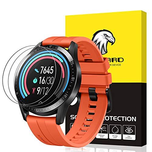Schutzfolie Kompatibel mit Huawei Watch GT 2 46mm Schutzfolie [3 Stück] für Huawei Watch GT 2 46mm Panzerglas [2.5D 9H Härte] [Blasenfrei]