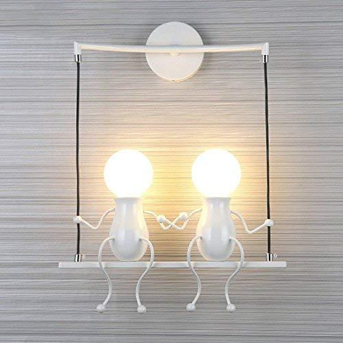 LANTING - Lámpara mural de aplique con un simpático y moderno diseño de columpio - Para 2 bombillas con casquillo E27 - Ideal para habitación infantil - Potencia:40 W