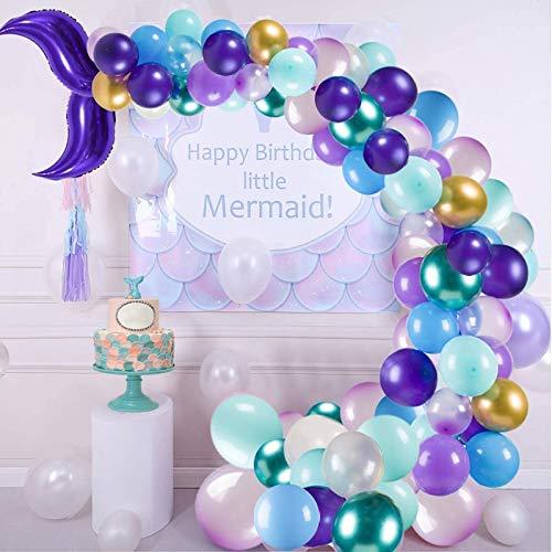 NPLUX Mermaid Balloon Garland 147pcs Purple Green Balloon Garland Mermaid Party Supplies Set for Baby Shower Mermaid Birthday Decoration