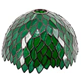Tiffany Lamp Shade Replacement Only W12H6 Inch Green Stained Glass Wisteria Lampshade 1-5/8-Inch Fitter Opening for Floor Arch Lamp Torchiere Lamp Ceiling Fixture Pendant Light S523 WERFACTORY Bedroom