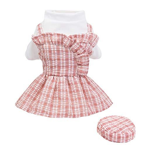 Vestido de rejilla para mascotas, vestido para perros y gatos, ropa para el verano, ropa para cachorros (rosa, S