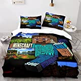 GSYHZL Minecraft 3D-Druckmuster Bettbezug Kissenbezug, Familie und Kinder, weiches und bequemes...