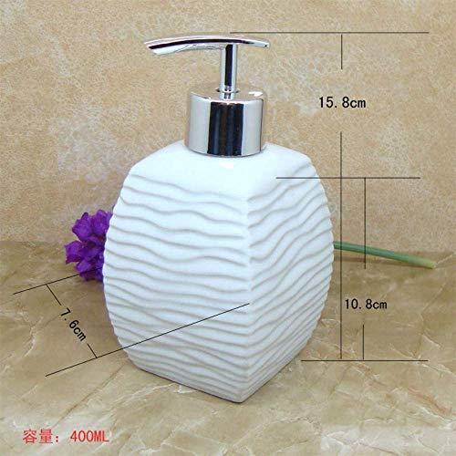 MWPO Dispensador de jabón/Botella desinfectante para Manos Estilo nórdico Onda de Agua de cerámica Botella Blanca Sub-Botella de líquido Caja de jabón Botella rellenable para la Cocina del Lava
