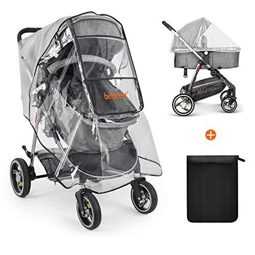 Besrey universal Kinderwagen Regenschutz mit Moskitonetz für Baby Buggy Sportwagen Regenverdeck Windschutz - transparent