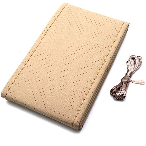 AUTUT Faux Leather Universal Car Steering Cover Stitch On Wrap Hand Sewing with Needle & Thread (Beige, 36cm/14.17 Dia)
