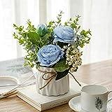 Cuisit Flores artificiales en maceta, flores artificiales en maceta, flores artificiales con jarrón para casa, oficina, fiesta, casa, balcón, decoración (azul)