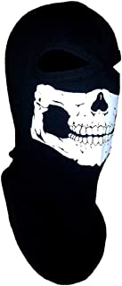 American Made Adult Ghost Skull Balaclava Ski Mask Ninja Swat Full Face Narrow Eyes Black Cotton Hood Head Sock Dust Wind Sun Exhaust Protection For Men / Women Motorcycle Rider Biker ATV Cosplay Airsoft
