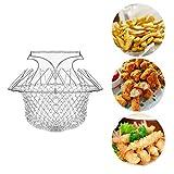 'N/A' Cestino pieghevole per friggitrice, in acciaio inox, per patatine patatine, con manici, cestino per friggitrice, cestino per friggitrice, cestino rotondo per friggitrici, alimenti e cucina