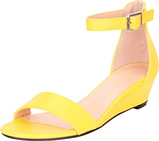 484d995d1 Cambridge Select Women s Open Toe Single Band Ankle Strap Low Wedge Sandal
