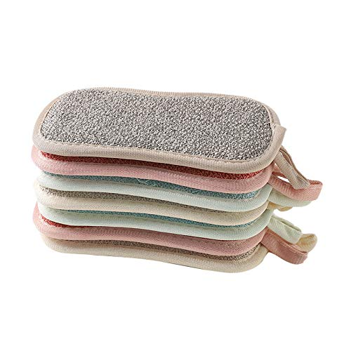Binchil 8PCS Double Sided Scouring Pad Dish Cloth Kitchen Cleaning Tools Wipers Rags Strong Decontamination Dish Towels(Random Color)
