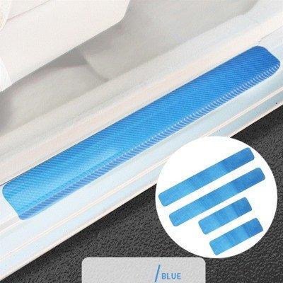 SZMWL Hot Koop 4 Stks 4D Koolstofvezel Auto Accessoires Deur Sill Scuff Protector Stickers & Gereedschap (Blauw)
