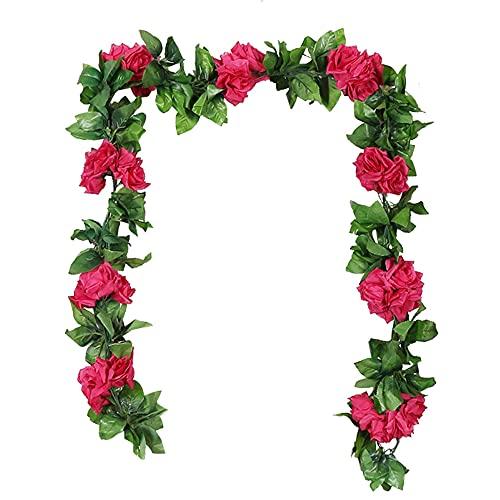 NITAIUN 3 Pezzi Artificiale Rosa Vine Ghirlanda di Rose Finta Fiori Seta Ghirlanda Edera Piante da Appendere per Nozze Arco Festa Casa Giardino Ufficio Hotel Decorazione Artigianato (Rosa Rossa)