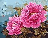 Kit de pintura por números, Amiiba Pink Peony Flowers 40,6 x 50,8 cm Pintura acrílica por número Wall Art Crafts (peonía, con marco)
