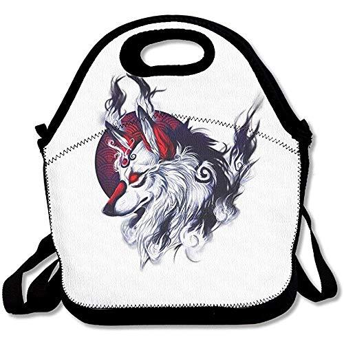 Lunchtasche mit indischem Wolf bedruckt, groß und dick, aus Neopren, isoliert, Kühltasche, warm, mit Schultergurt, für Damen, Teenager, Mädchen, Kinder, Erwachsene
