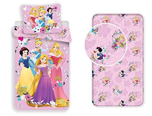 LesAccessoires Disney Princesas Juego de cama de 3 piezas, funda nórdica + funda de almohada + sábana bajera ajustable 100% algodón