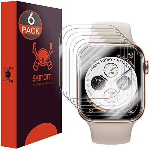 Skinomi TechSkin, Pellicola Protettiva Apple Watch Series 4-44 mm.Idrorepellente, Copertura Fino al Bordo, Confezione da 6