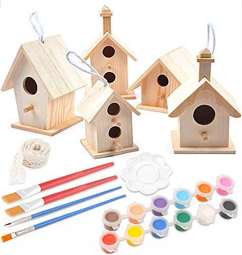 bird houses Decoroca 5PCS Unpainted Wooden Birdhouses - Fun Express DIY Bird Houses Kit, Birdcages for Outdoors Hanging, Birdhouse to Paint for Kids (Includes Watercolor Paints Tools)