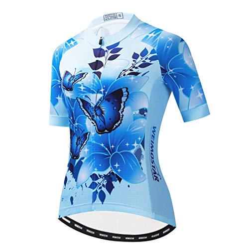 PSPORT Damen Fahrradtrikot Sommer Kurzarm Fahrradbekleidung Mountainbike Jacken Schnell trocknend Atmungsaktiv MTB Shirt