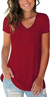 Women's Basic V Neck Short Sleeve T Shirts Summer Casual...