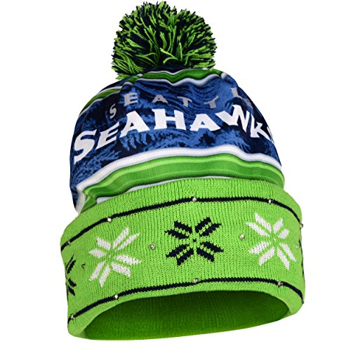 FOCO NFL Wordmark Light Up - Gorro con Estampado, Wordmark - Gorro con luz, Color del Equipo, Una Talla